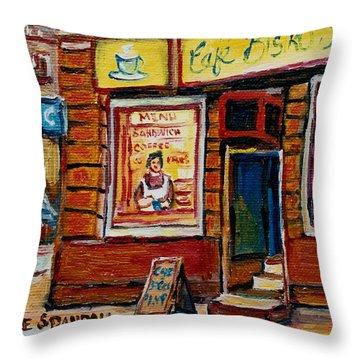 Cafe Bistro St. Viateur Throw Pillow by Carole Spandau