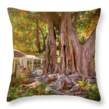 Cafe By The Grand Old Tree Lisbon Portugal Throw Pillow