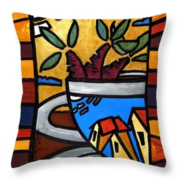 Throw Pillow featuring the painting Cafe Caribe  by Oscar Ortiz