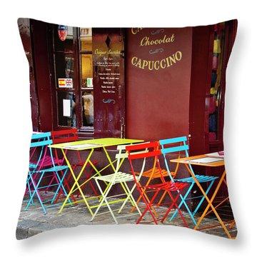 Cafe Color - Paris, France Throw Pillow by Melanie Alexandra Price
