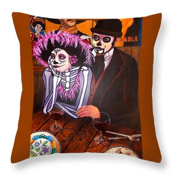 Cafe- Day Of The Dead Throw Pillow