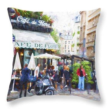 Cafe De Flores Throw Pillow