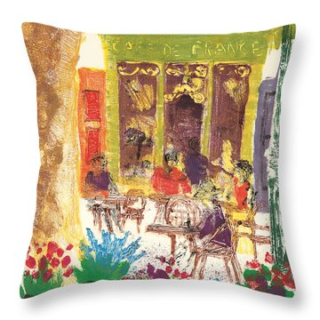 Throw Pillow featuring the painting Cafe De France by Martin Stankewitz
