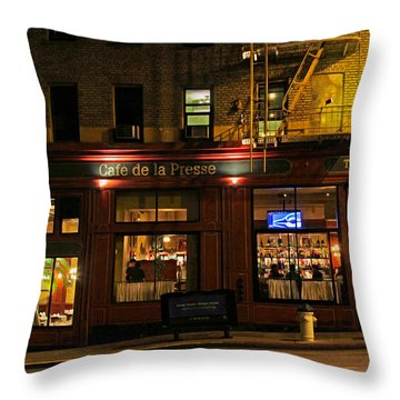 Cafe De La Presse On Bush St Throw Pillow