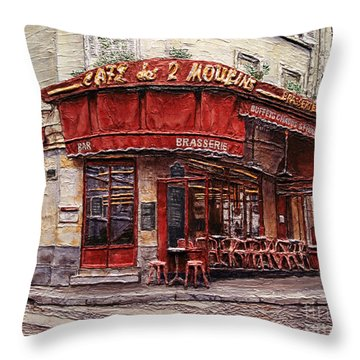 Cafe Des 2 Moulins- Paris Throw Pillow
