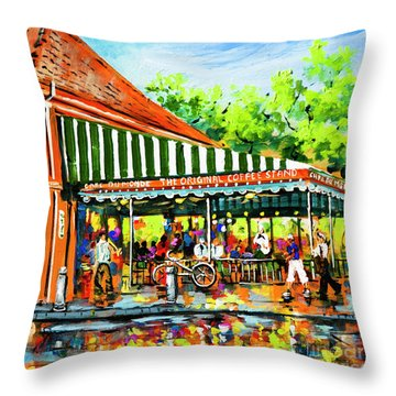 Cafe Du Monde Lights Throw Pillow by Dianne Parks