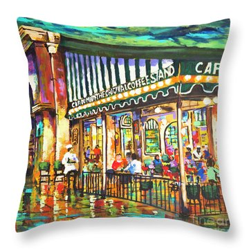 Cafe Du Monde Night Throw Pillow by Dianne Parks