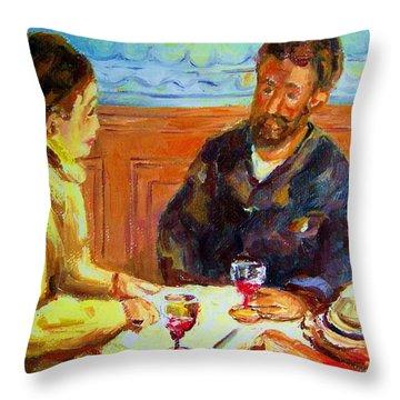 Cafe  Homage  De Pierre Auguste Throw Pillow by Carole Spandau
