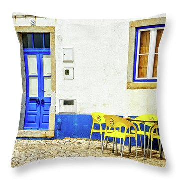 Cafe In Portugal Throw Pillow by Marion McCristall