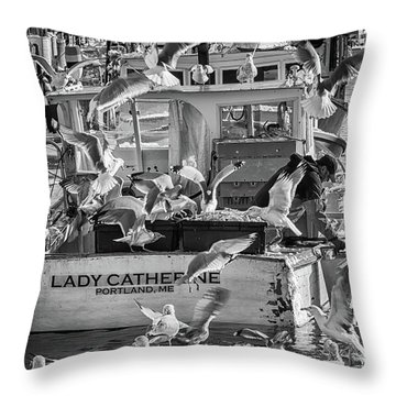 Cafe Lady Catherine Black And White Throw Pillow
