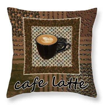 Throw Pillow featuring the photograph Cafe Latte - Coffee Art - Caramel by Anastasiya Malakhova