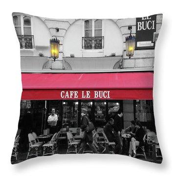 Cafe Le Buci Throw Pillow by Tom Reynen