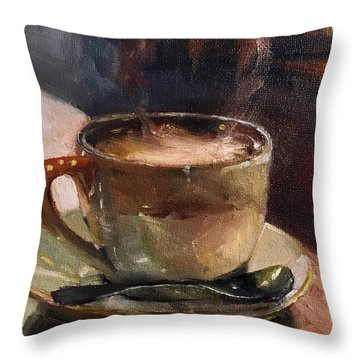 Cafe Love Coffee Painting Throw Pillow
