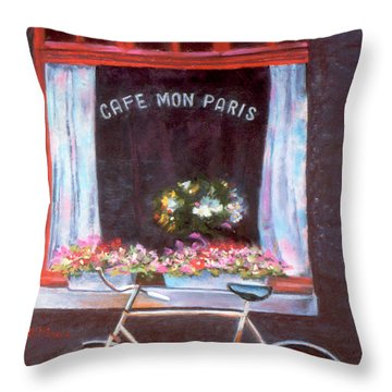 Cafe Mon Paris Throw Pillow by Julie Maas