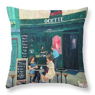 Cafe Odette Throw Pillow by Diane Arlitt