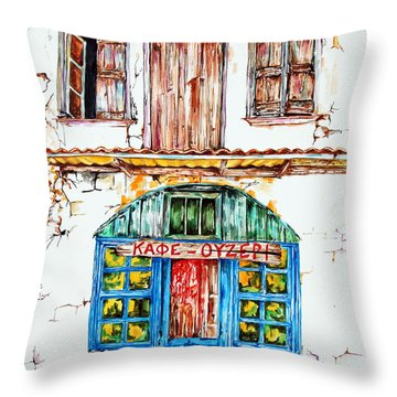 Cafe Ouzeri Throw Pillow by Maria Barry