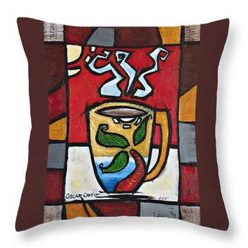 Throw Pillow featuring the painting Cafe Palmera by Oscar Ortiz