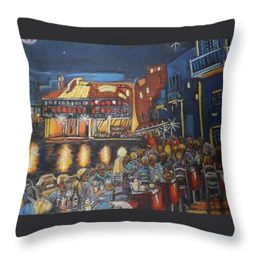 Cafe Scene At Night Throw Pillow