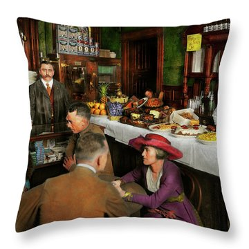 Throw Pillow featuring the photograph Cafe - Temptations 1915 by Mike Savad
