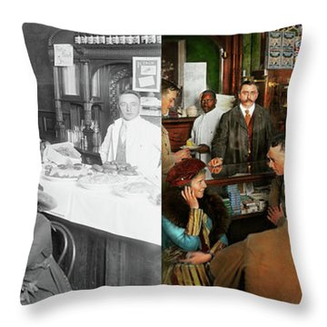 Throw Pillow featuring the photograph Cafe - Temptations 1915 - Side By Side by Mike Savad