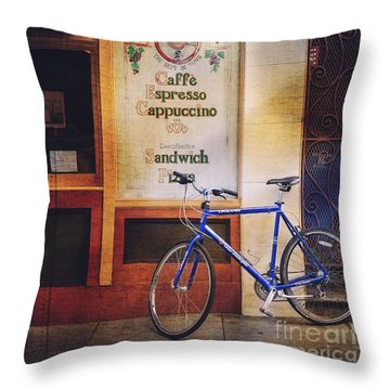 Caffe Expresso Bicycle Throw Pillow