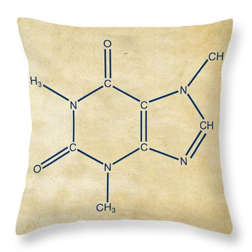 Caffeine Molecular Structure Vintage Throw Pillow