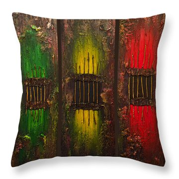 Throw Pillow featuring the painting Caged Abstract by Patricia Lintner