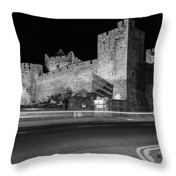Cahir Castle At Night Throw Pillow by Martina Fagan