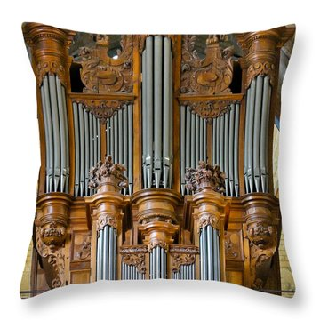 Cahors Cathedral Organ Throw Pillow