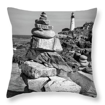 Throw Pillow featuring the photograph Cairn And Lighthouse  -56052-bw by John Bald