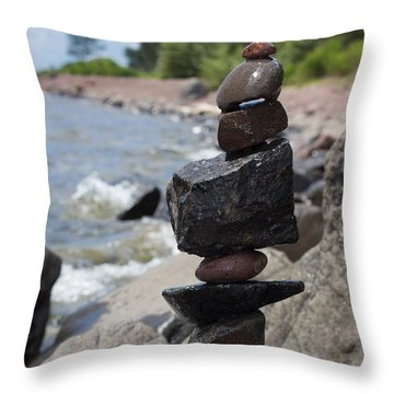 Cairn Meditation Stones In Color Throw Pillow by Heidi Hermes