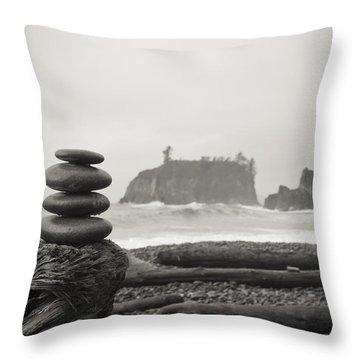Cairn On A Beach Throw Pillow