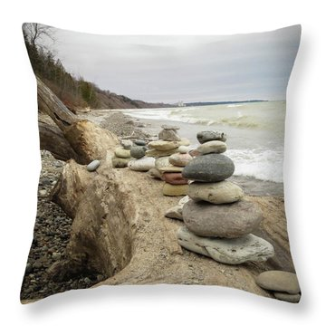 Throw Pillow featuring the photograph Cairn On The Beach by Kimberly Mackowski