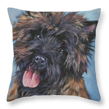 Cairn Terrier Brindle Throw Pillow by Lee Ann Shepard