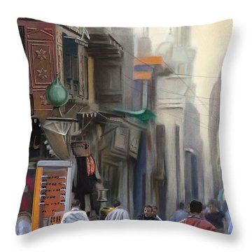 Cairo Street Market Throw Pillow