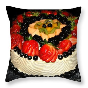 Cake Decorated With Fresh Fruit Throw Pillow by Sue Melvin