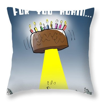 Cake Spaceship Throw Pillow
