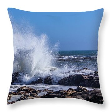 Wave Crashing On California Coast Throw Pillow