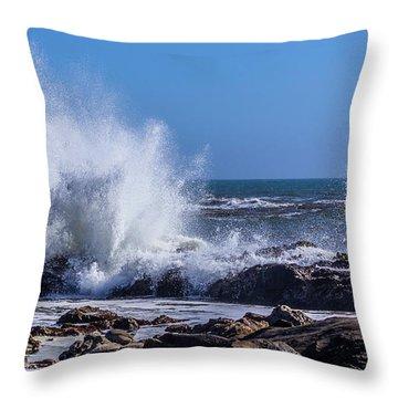Wave Crashing On California Coast Throw Pillow