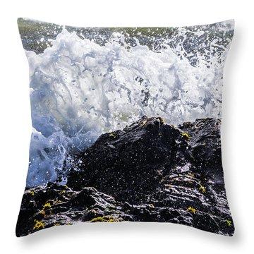 California Coast Wave Crash 4 Throw Pillow