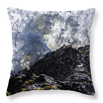 California Coast Wave Crash 5 Throw Pillow