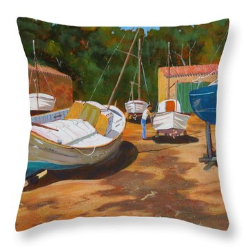 Throw Pillow featuring the painting Cala Figuera Boatyard - I by David Gilmore