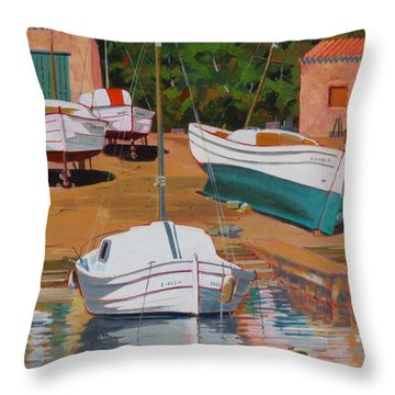 Throw Pillow featuring the painting Cala Figuera Boatyard - II by David Gilmore