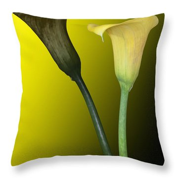 Cala Lilies Opposites Throw Pillow