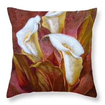 Cala Lillies Bouquet Throw Pillow by J- J- Espinoza