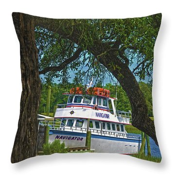 Calabash Deep Sea Fishing Boat Throw Pillow