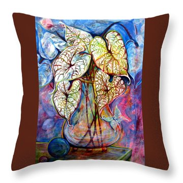 Caladium Glass Creation Throw Pillow