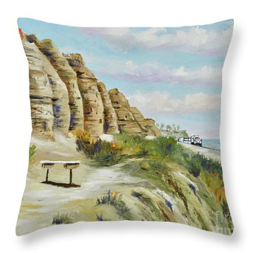 Throw Pillow featuring the painting Calafia Beach Trail by Mary Scott