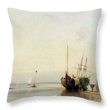 Calais Pier Throw Pillow by Richard Parkes Bonington