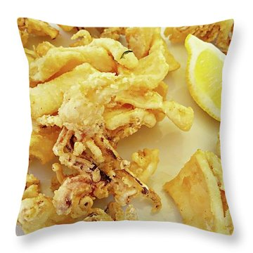 Throw Pillow featuring the digital art Calamari Fritti by Joseph Hendrix